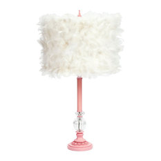 Pink Glass Ball Lamp With Feather Shade