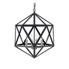 4-Light Matte Black Geometric Cage Chandelier with Brushed Nickel Farmhouse