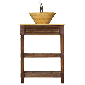 "Small Reclaimed Wood Bath Vanity 30"" Bamboo Vessel Sink Console Package"