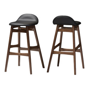 Bloom Walnut Wood Finishing 30 Quot Bar Stools Set Of 2