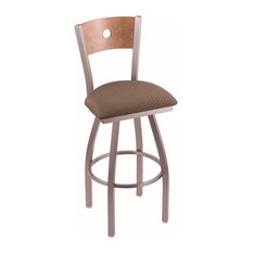 30-inch Bar Stool Stainless Finish Axis Willow Seat Medium Maple Back