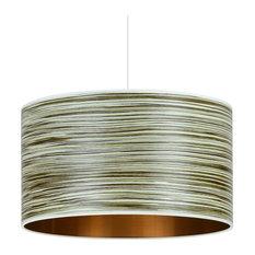 Green Stripe Wood Veneer Drum Lampshade, 45 cm