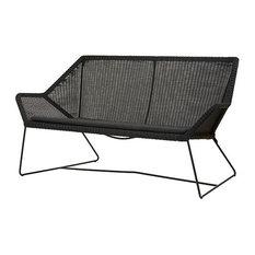 Cane-line Breeze 2-Seater Lounge Sofa, Black, White Cushion