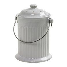Norpro 93 Ceramic Compost Keeper, White, 1 Galon