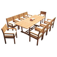 """11-Piece Outdoor Teak Dining Set: 94"""" Masc Rectangle Table, 10 Vera Arm Chairs"""