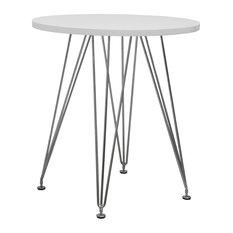 Paris Tower Modern Round Table With Chrome Base, White