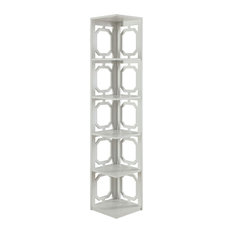 Convenience Concepts - Omega 5-Tier Corner Bookcase, White - Bookcases