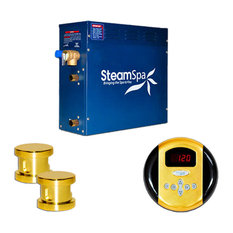 SteamSpa Oasis 12kw Steam Generator Package in Polished Brass
