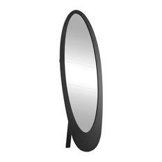 "Mirror, 59"", Black Contemporary Oval Frame"