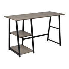 VidaXL Desk With 2 Shelves, Grey and Oak