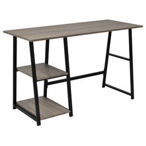 VidaXL Desk With 2 Shelves, Grey and Oak