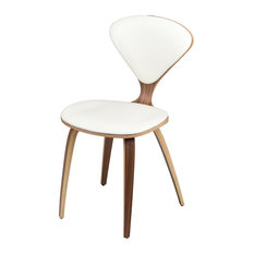Satine Dining Chair with Walnut Frame and Leather Seat Pads, White Leather