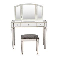 Vanity With Stool, Silver Gray