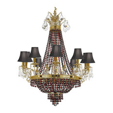 Chandelier With Multi Color Crystal and Shades