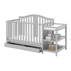 Graco Solano 4-in-1 Convertible Crib and Changer With Drawer, Pebble Gray