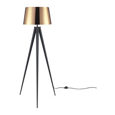 Mid Century Modern Floor Lamp, Tripod Style Base With Acrylic Film Shade, Copper