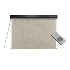 Outdoor Valanced Remote Control Operated Sunshade, Pearl Fabric, Titanium, 48x96