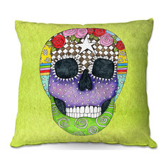 DiaNoche Outdoor Pillows by Marley Ungaro, Sugar Skull Lime