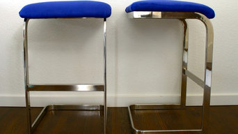 Vintage Silver Cantilever Barstools with Fuax Blue Suede
