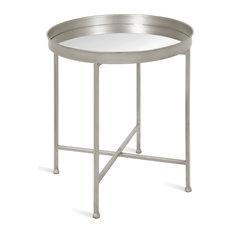 Celia Round Metal Side Table, Silver Mirror