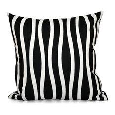 "Wavy Stripe Decorative Pillow, Black, 20""x20"""
