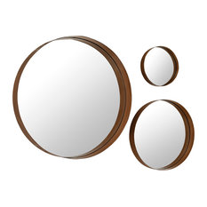 Walker Edison Furniture Company We Banded Round Copper Mirrors 3 Piece Set