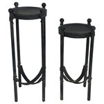 UNKNOWN - French Art Deco Iron Candle Holders - a Pair - Add these exquisitely designated French deco candle holders to any space to bring instant intrigue. The gothic cast iron design gives a nod to the timeless stylings of centuries of old. The mix of deco with medieval iron work brings an elegance for for royalty.