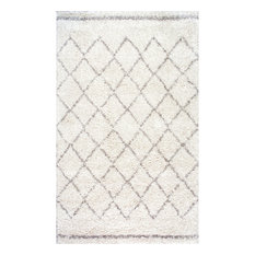 Moroccan Trellis Shag Natural Rug, Natural, 4'x6'