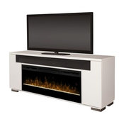 """Dimplex Haley 76"""" Fireplace TV Stand With Soundbar in White"""