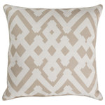 """Surya - Surya Large Zig Zag 18"""" x 18"""" Taupe And White Pillow Cover ZZG004-1818 - Embodying timeless traditions while maintaining the fabulous and fashionable elements of trend worthy design, the pieces from the Large Zig Zag Collection will effortlessly cement themselves in your decor space! The meticulously woven construction of these pieces boasts durability and will provide natural charm into your decor space. Made with Linen, Cotton in India, Spot Clean Only, Line Dry."""
