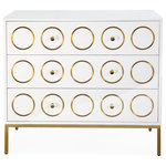 TOV Furniture - Ella Chest - Modernity and glam collide to create the Ella Chest. Clean lines and bright white lacquer is contrasted by the brushed gold design and lucite handles. Especially stunning when placed below artwork that brings out its unique style, this chest will add extra storage and modern character to your living room or dining room. The Ella Chest puts a modern twist on a classic design, epitomizing a dedication to creating both beautiful and functional pieces.