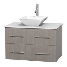 "Centra 36"" Gray Oak Vanity, White Stone Top, Pyra White Porcelain"