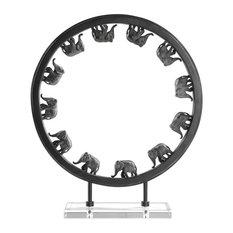 Large Bronze Elephant Circle Sculpture, Open Round Crystal Base