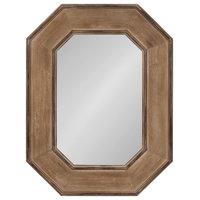 Hadrian Wood Octagon Wall Mirror, Brown 31x41