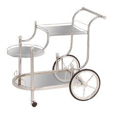 Coaster Serving Cart, Chrome Finish 910076