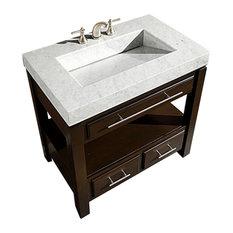 """36"""" Modern Single Sink Bathroom Vanity, Carerra White Marble, 36"""""""