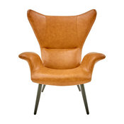 Divani Casa Slater Modern Leatherette Lounge Chair, Cognac