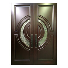 """Mahogany Exterior Home Front Entry Door, 6'x6'8"""" With 2 3/8"""" Thick Doors"""