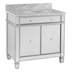 Mirage Double-Door Bath Vanity Sink With Marble Top, Matte Silver