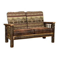 Rustic Hickory Living Room Love Seat, Leafy Fabric