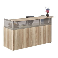 "At Work 72""W x 29""D Reception Desk - Gray"