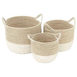 Beach Style Baskets by Benzara, Woodland Imprts, The Urban Port