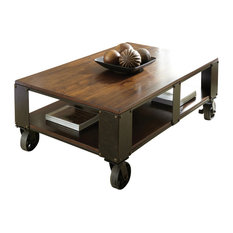 Steve Silver Company Barrett Cocktail Table With Casters Distressed Tobacco Coffee Tables