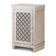 Geo Cutwork Distressed White Cabinet