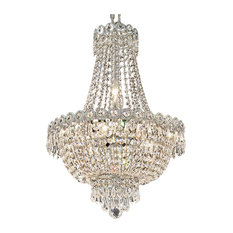 "Empire Design 8 Light 16"" Chrome Chandelier With Clear Swarovski Crystals"