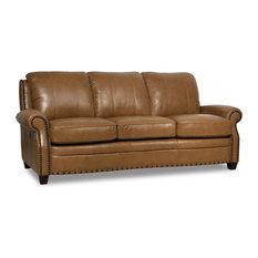 Genuine Italian Leather Sofa, Wheat