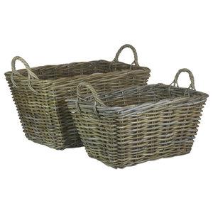 Rectangular Grey Rattan Floor Storage Baskets, Set of 2
