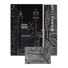 Mohawk Home   New York City 3 Piece Set Rug Set, Contains Runner Rug