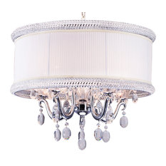 Clear Crystal Chandelier With Chrome Frame and White Fabric Beaded Shade