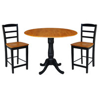 """42"""" Round Pedestal Gathering Height Table, 2 Counter Height Stools, Black/Cherry"""